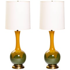 Pair of Mid-Century Modern Ceramic Long Neck Lamps