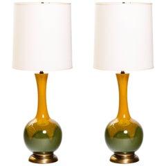 Pair of Mid-Century Modern Ceramic Long Neck Lamps
