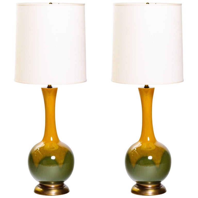 Pair of Mid-Century Modern Ceramic Long Neck Lamps 1
