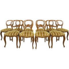 Set of Ten Balloon Back Dining Chairs Upholstered in Striped Cut Silk-Velvet
