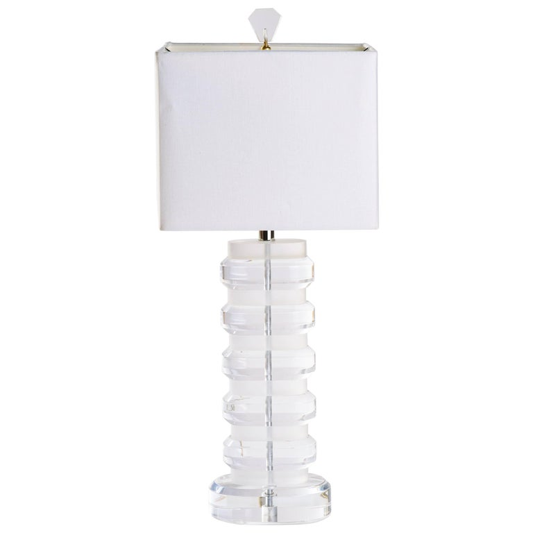 Mid-Century Modern Heavy Lucite Lamp For Sale