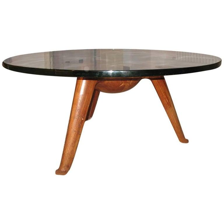 Italian Splendid Coffee Table By Osvaldo Borsani In Massive Walnut Milano 1950s For Sale At 1stdibs