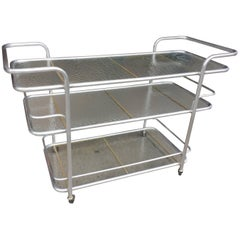 Brushed Aluminum Serving Cart by Brown Jordan