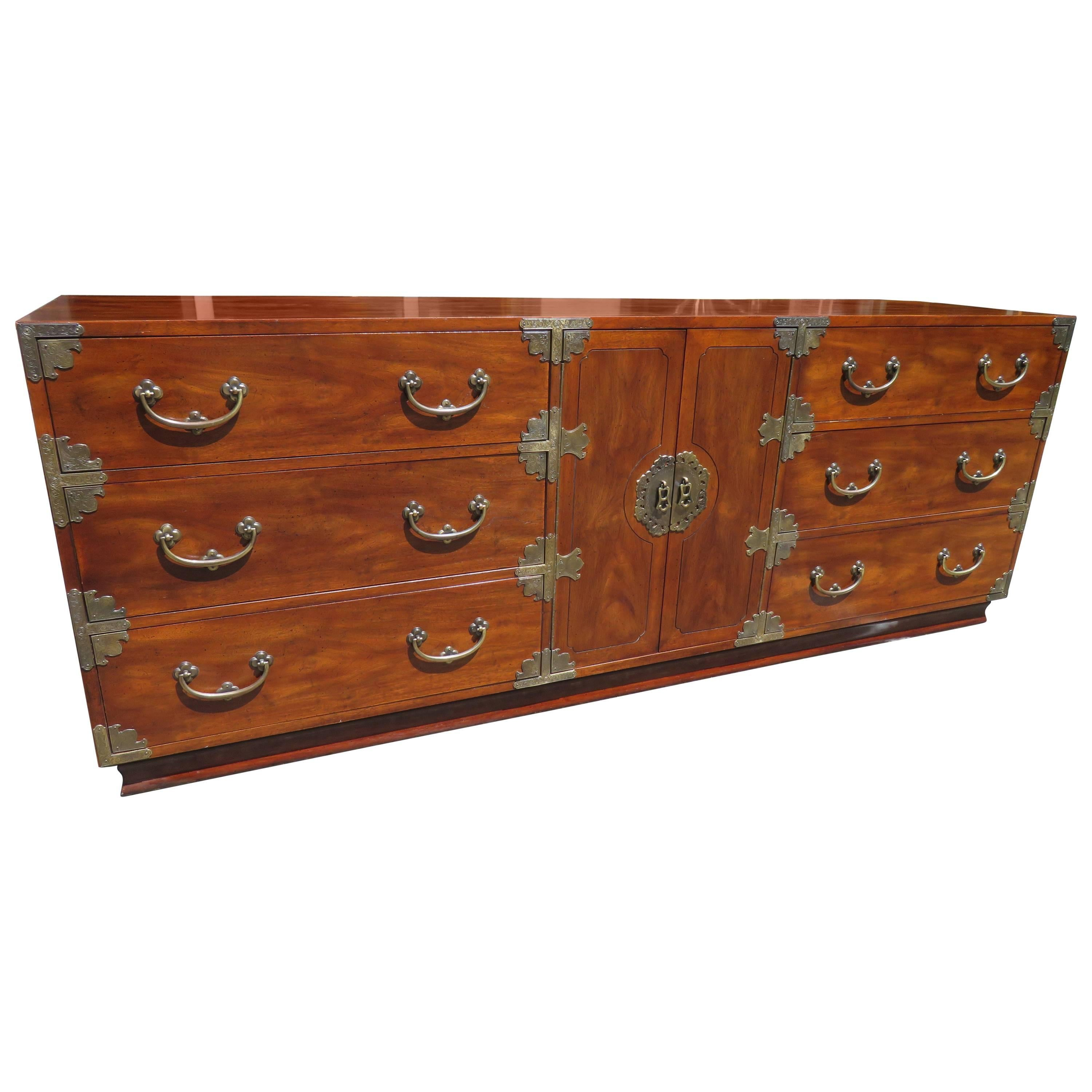 chinoiserie asian style campaign chest credenza henredon hollywood regency