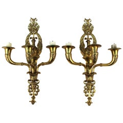 Pair of 19th Century French Empire Swan Sconces