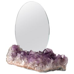 Aura Mirror by Another Human, Contemporary Crystal Vanity Mirror in Amethyst