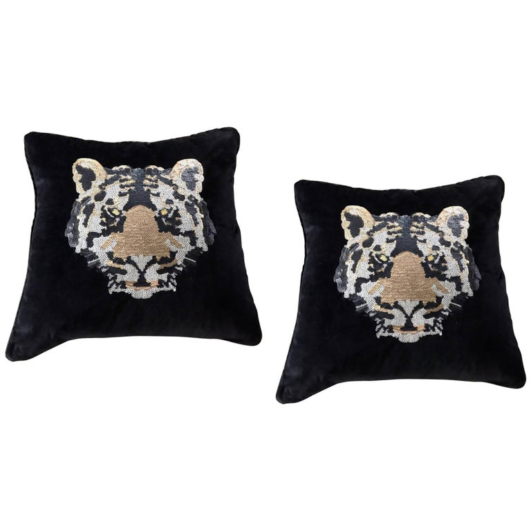 Pair of Luxe Black Velvet and Sequin Tiger Decorative Pillows