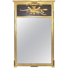 Italian Neoclassical Style Giltwood and Black Wall Mirror, circa 1970s