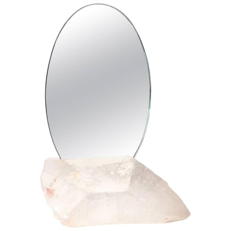 Aura Mirror by Another Human, Contemporary Crystal Vanity Mirror in Quartz