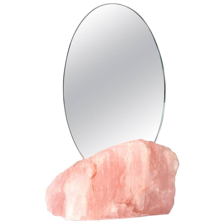 Aura Mirror by Another Human, Contemporary Crystal Vanity Mirror in Rose Quartz