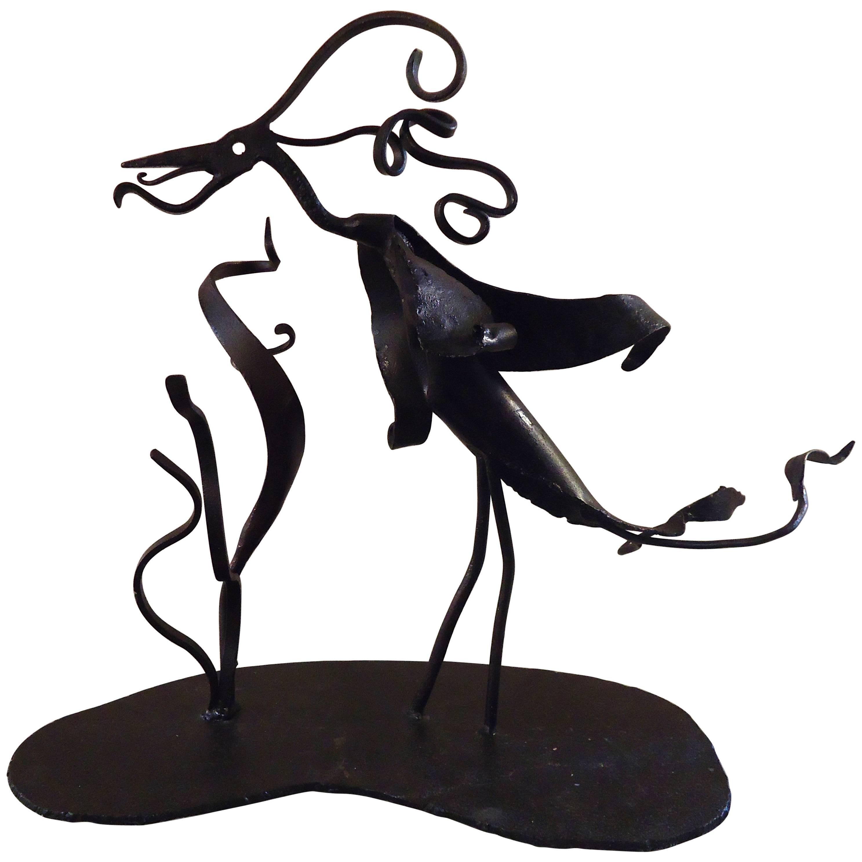 Vintage Abstract Iron Sculpture