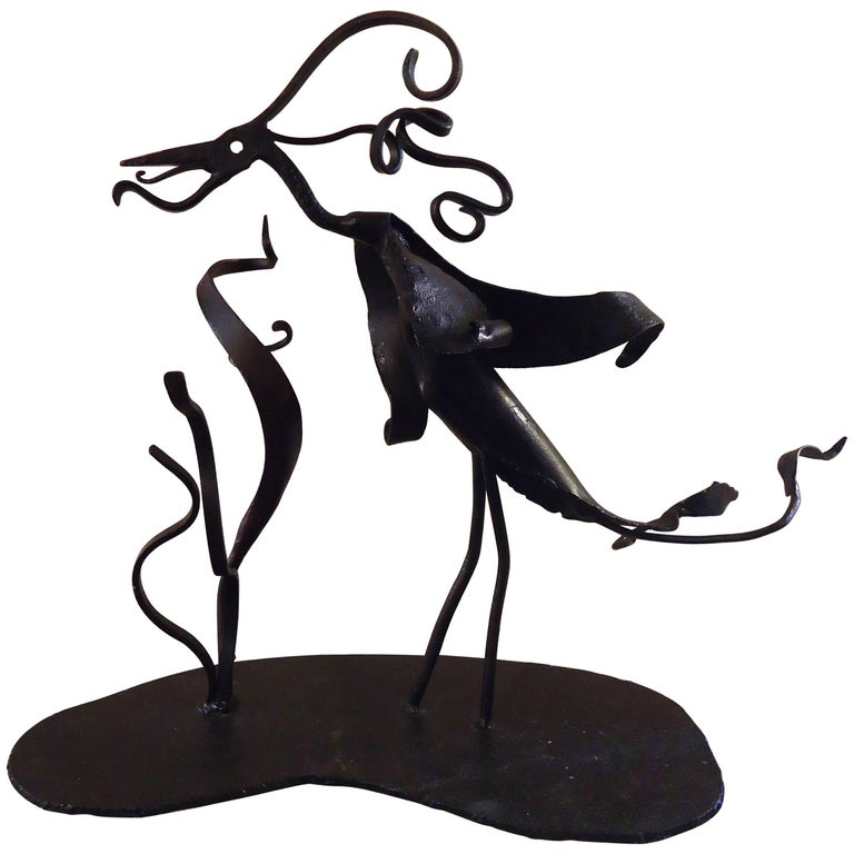 Vintage Abstract Iron Sculpture