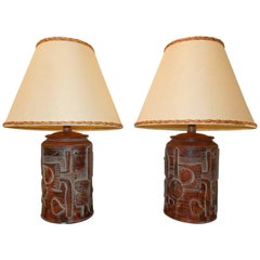 Pair of Rare 1980 Vintage Brutalist Table Lamps by Casual Lamps Company