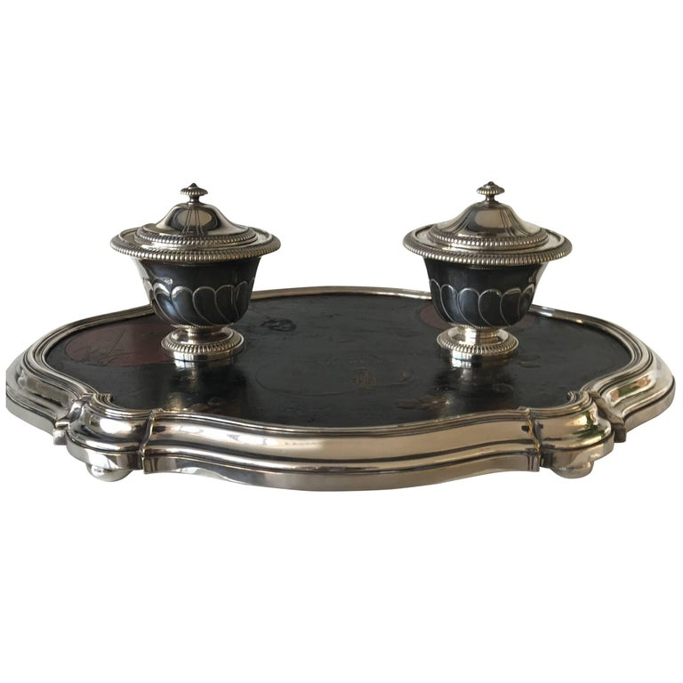 Shipping Free, 19th Century Silvered Bronze Inkstand Signed Boin Taburet, Paris For Sale