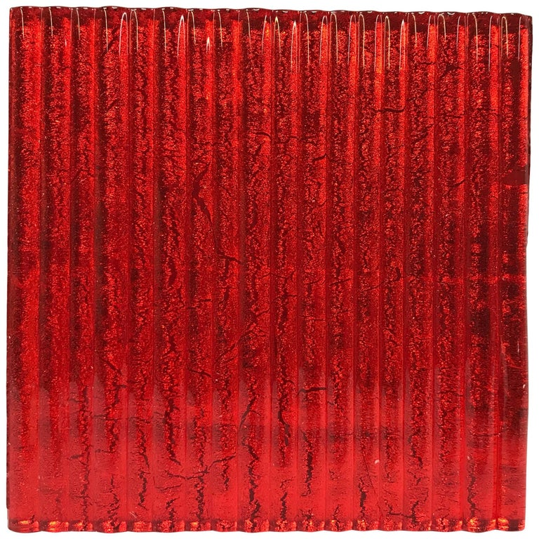 Murano Textured Glass Tiles in Red, Italy, 2017 1