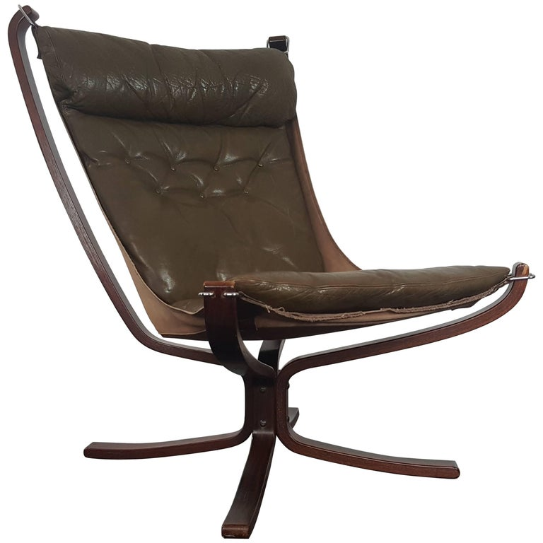 Vintage 1970s Sigurd Ressell Designed High-Backed X-Framed Falcon Chair