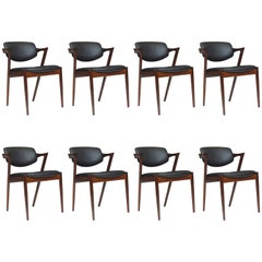 Kai Kristiansen Model 42 Tilt-Back Dining Z Chairs in Black Leather