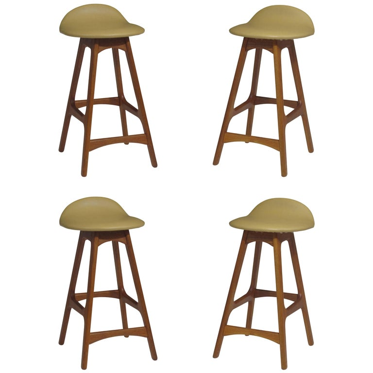 Erik Buck Danish Teak Counter Bar Stools For Sale At 1stdibs