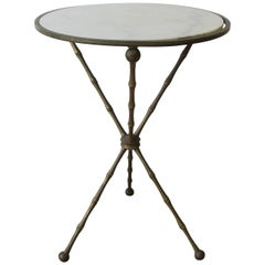 Midcentury Italian Marble and Brass Tripod Side Table, Italy, 1960s