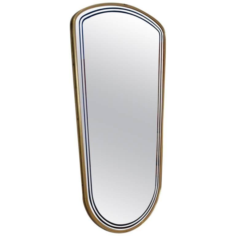Elegant Mid-Century Brass Framed Mirror, France