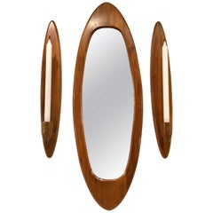 Danish Modern Teak Surfboard Three Piece Mirror Garniture