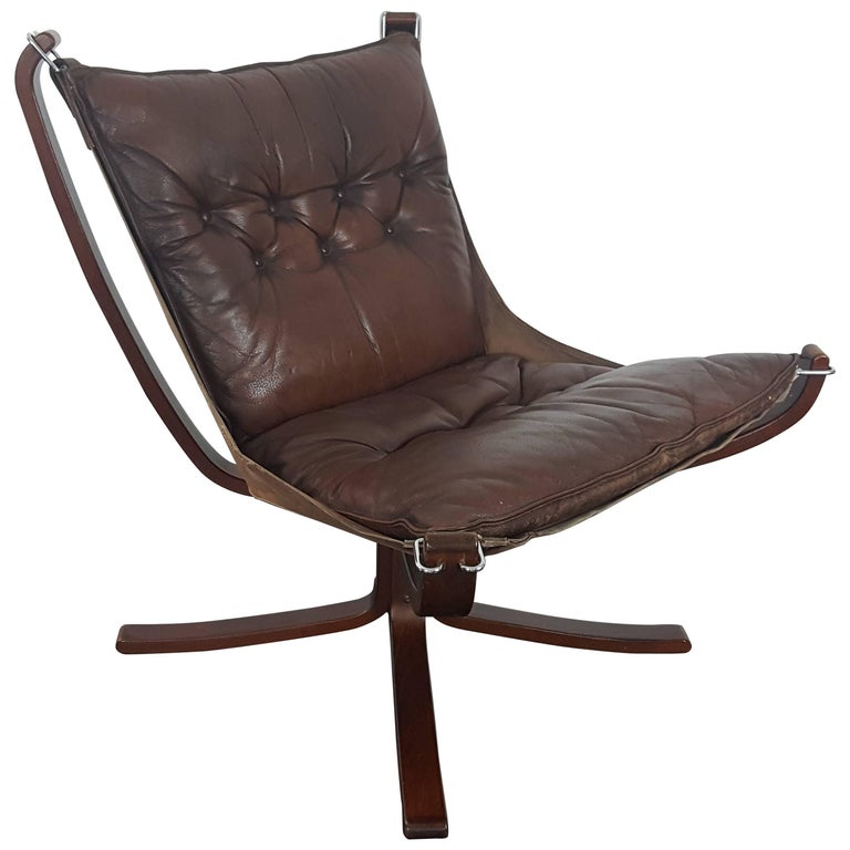 Iconic Vintage 1970s Sigurd Ressell Designed Low Backed X-Framed Falcon Chair