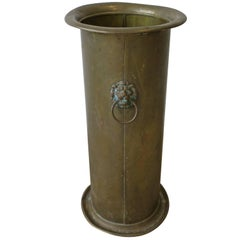 Midcentury Brass and Lion Head Umbrella Stand