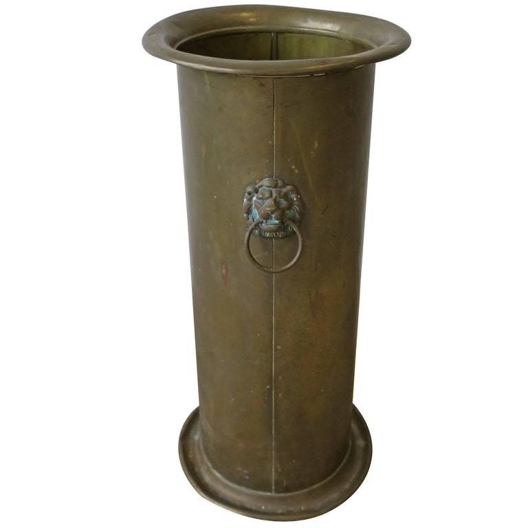 Midcentury Brass And Lion Head Umbrella Stand For Sale At 1stdibs