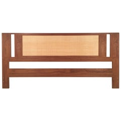 Danish Teak and Grass Cloth Double Sided King-Size Headboard by Falster