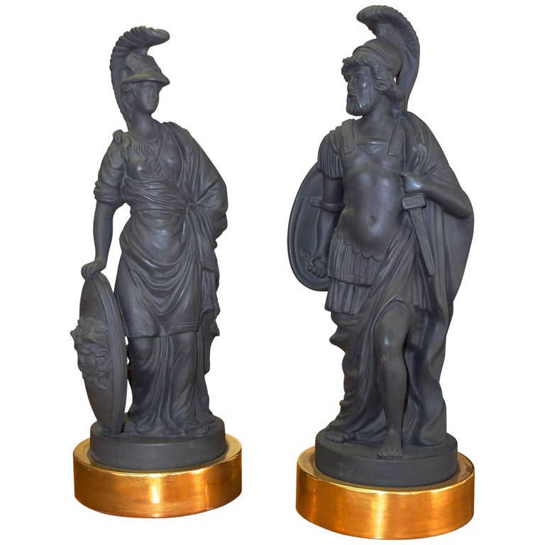 Pair of Black Basalt Mottahedeh Figures from Classical Antiquity
