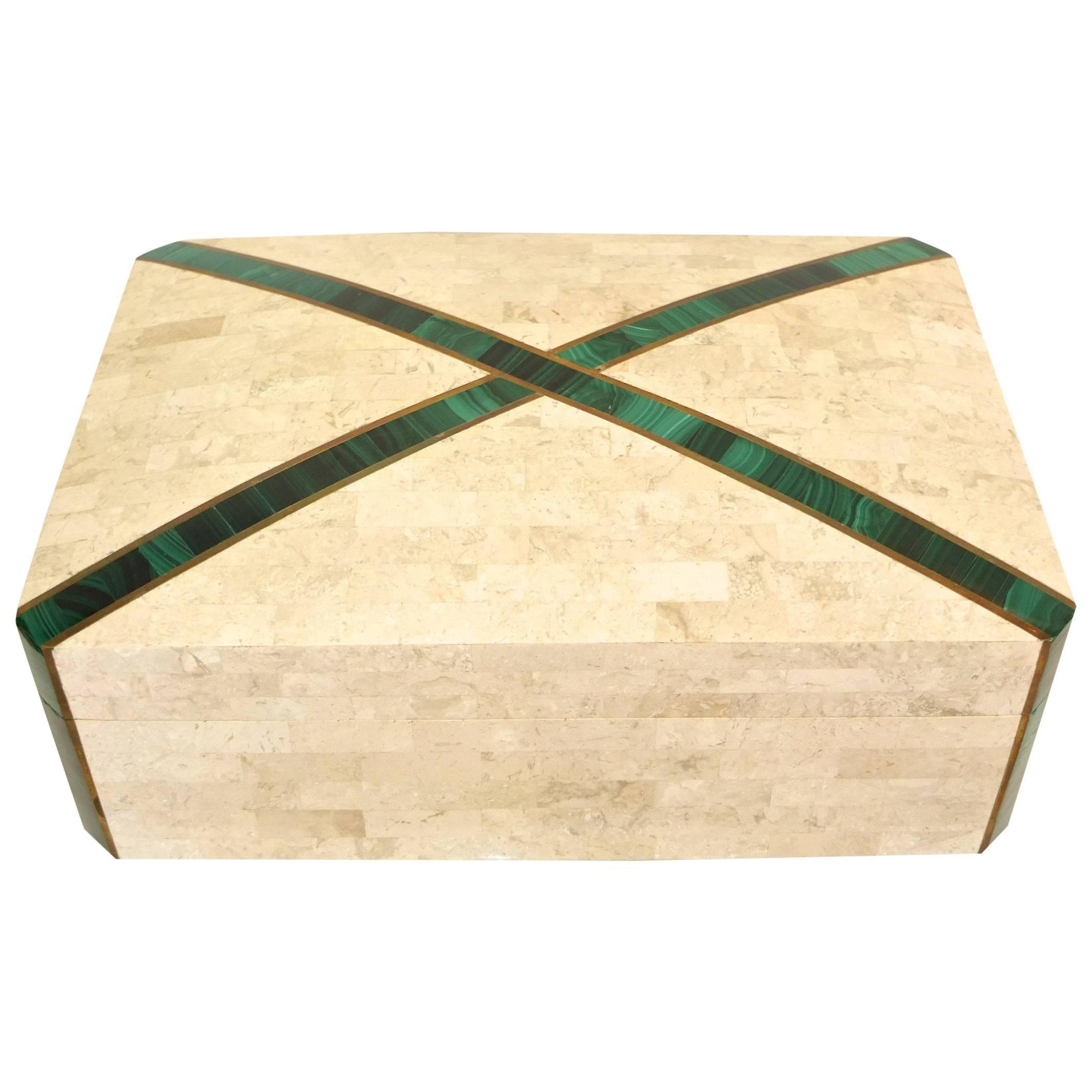 Large Tessellated Stone Box with Brass and Malachite
