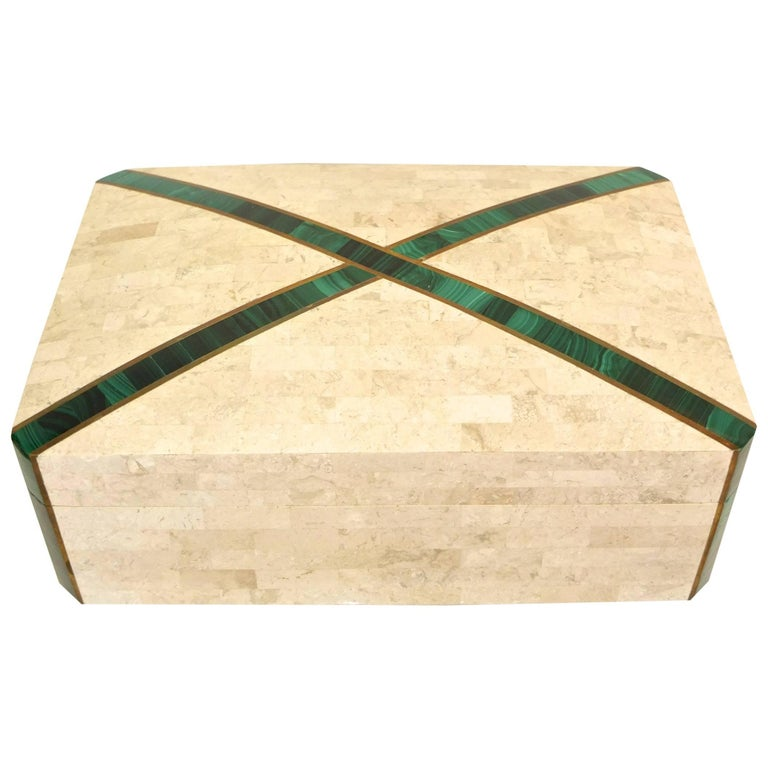 Large Tessellated Stone Box with Brass and Malachite