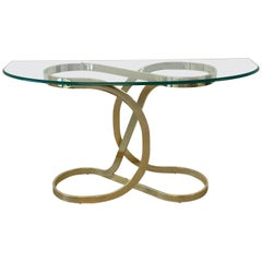 1970s Milo Baughman Style Brass Ribbon Console Table with Glass Top