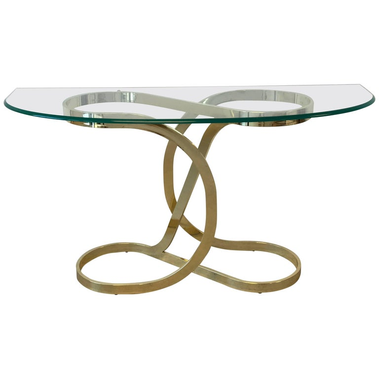 1970s Milo Baughman Style Brass Ribbon Console Table With