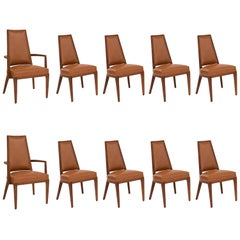 Ten Solid Walnut and Upholstered Dining Chairs