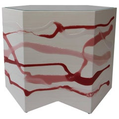 Drip/Fold Side Table in Ash Plywood with Rose-Wine Resin and Leather Top