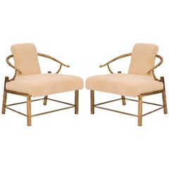 Pair of Mastercraft Patinated Brass Lounge Chairs