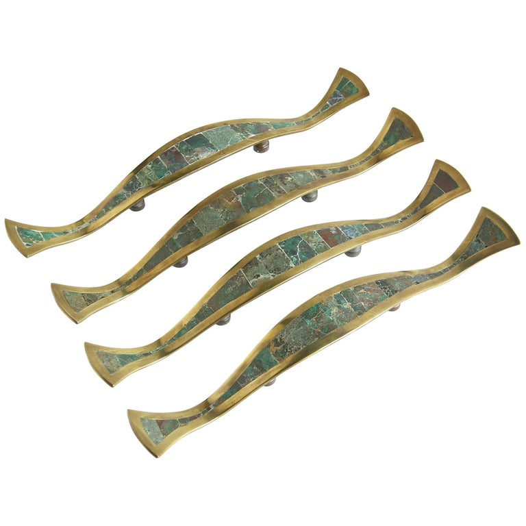 Los Castillo Brass Handles with Inlaid Stone For Sale