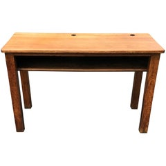 19th Century English Oak Double School Desk