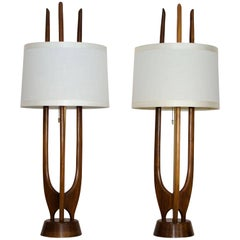 Pair of Mid-Century Walnut Table Lamps, Modeline Style