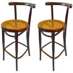 Pair of J J Kohn and Mundus Bentwood Stools Made in Czechoslovakia