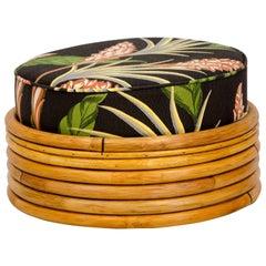 Round Rattan Ottoman, Barkcloth Cushion