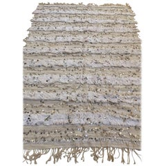 Moroccan Vintage Wedding Blanket with Silver Sequins and Long Fringes