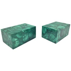 Pair of Natural Malachite Boxes, Handcrafted Jewelry Boxes