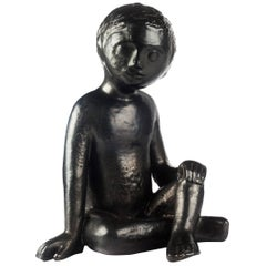 Child Ceramic Sculpture by Perignem Amphora, Black, Belgium, 1970s