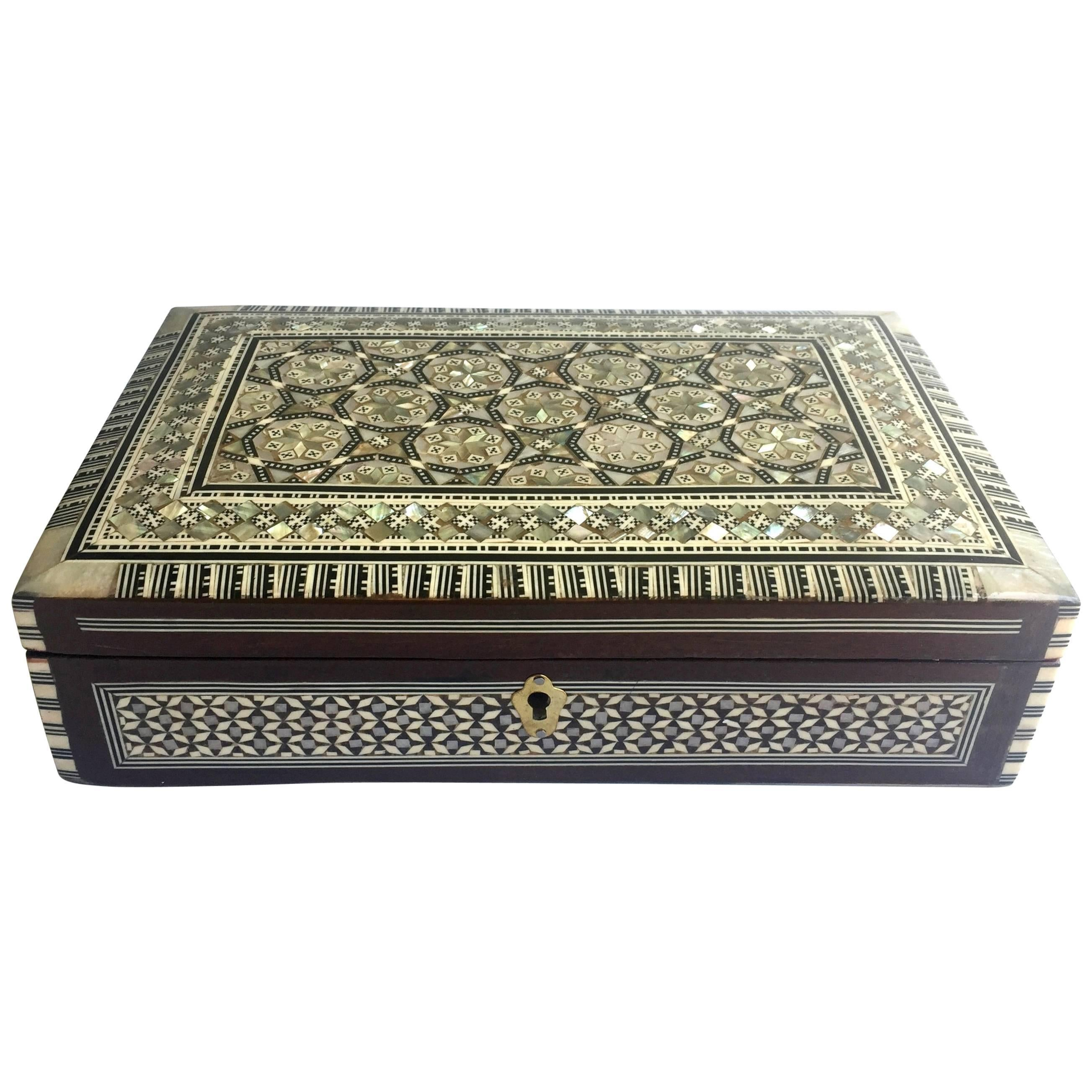 MotherofPearl Jewelry Box Inlaid Box with Key For Sale at 1stdibs