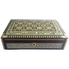 Mother-of-Pearl Jewelry Box, Inlaid Box with Key