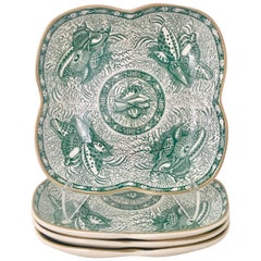 Vintage Mottahedeh Tourquay Green Clover Plate S/4