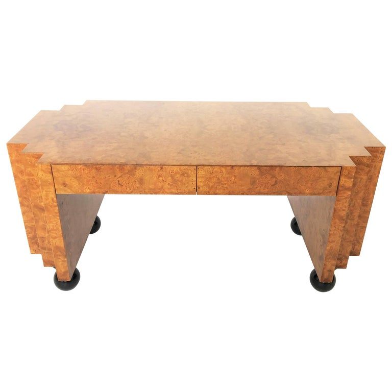 Unusual Burl Wood Writing Table or Desk with Black Lacquer Legs