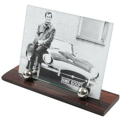 Art Deco Modernist Picture Photo Frame Macassar Wood and Chrome Ball Accents